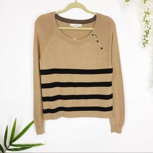 NWT LOFT tan & black striped sweater buttons
